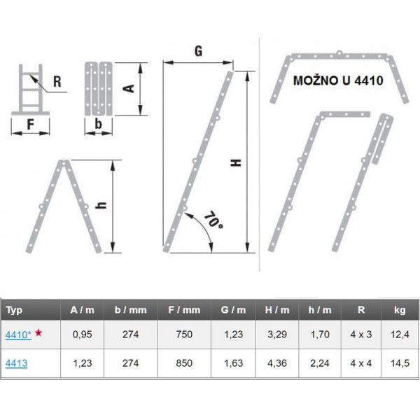 Štvordielny kĺbový rebrík ALVE Forte