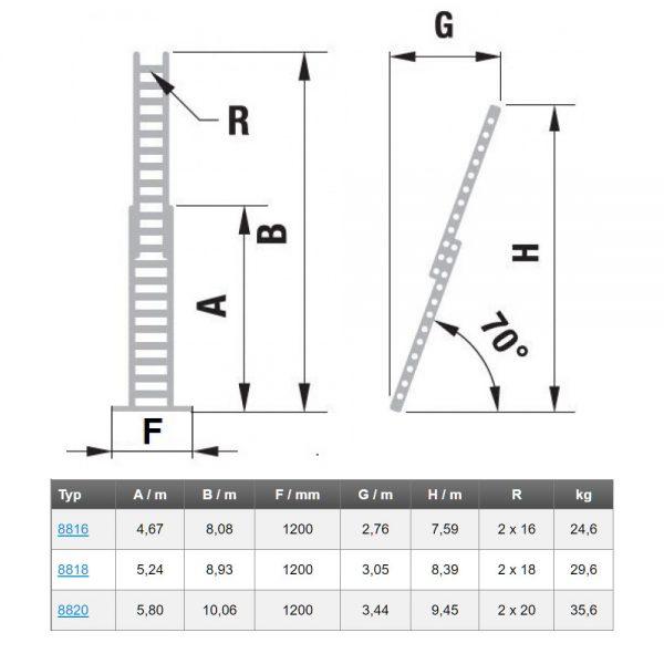 Dvojdielny výsuvný rebrík rozšírená verzia s lanom ALVE Forte rozmery