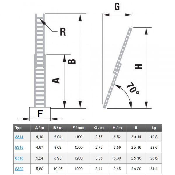 Dvojdielny výsuvný rebrík s lanom ALVE Forte