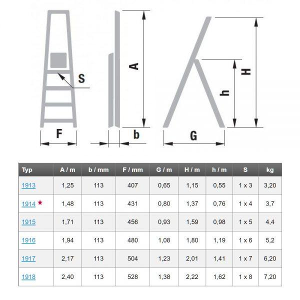 Hliníkové jednostranné schodíky Eurostyl HOBBY rozmery