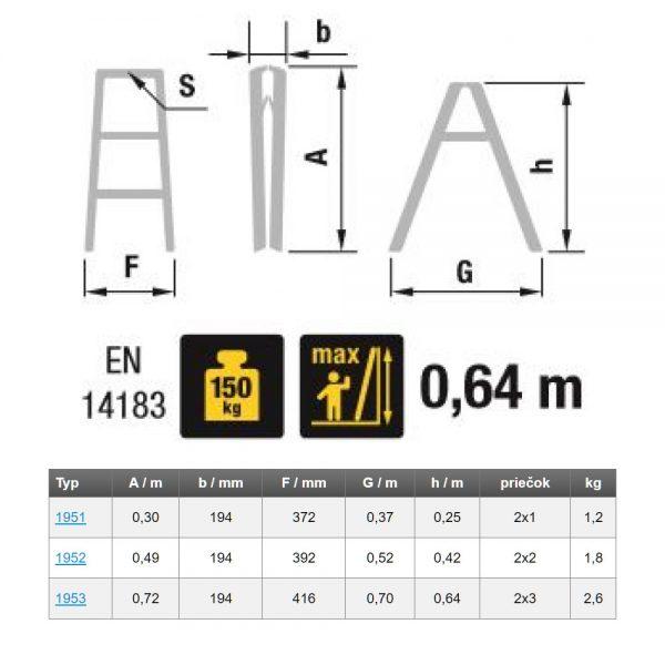 Obojstranné schodíky so zámkom podľa EN14183 Eurostyl HOBBY rozmery