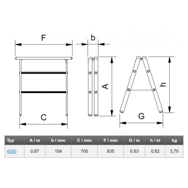Pracovná hliníková podpera Alve 4050 rozmery