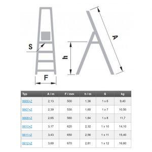 Schodíky jednostranné hliníkové zo zábradlím PROFI rozmery